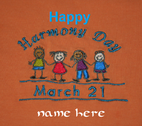 Photo of Write name on happy Harmony Day