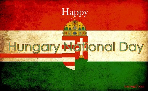 Photo of hungarian national day wish image with name