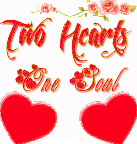 Photo of write on gif yours two first letters on two hearts one soul