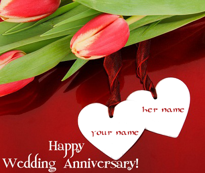Photo of write yours names on happy anniversary card
