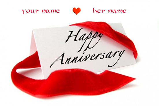 Photo of write your two lovers names on happy anniversary card