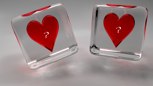 Photo of write yours characters on two hearts in cube