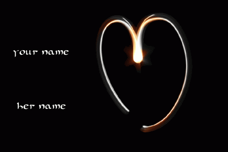 Photo of write your names on lighting love heart gif image
