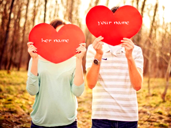 Photo of write your names on two hearts photo image