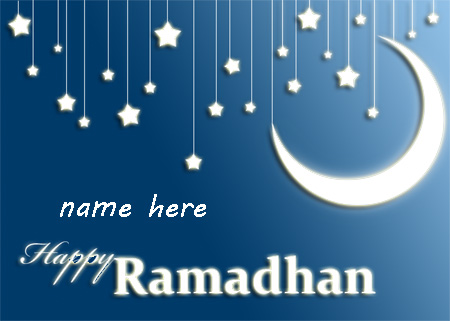 Photo of write your name on happy Ramadhan gif photo