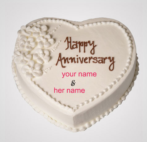 Photo of write name happy anniversary cake heart cake