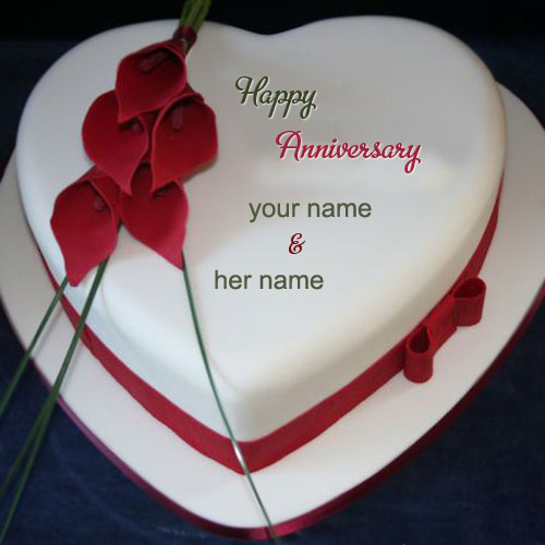 Photo of write name happy anniversary cake nice heart cake