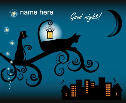 Photo of write name on gif good night Wish card