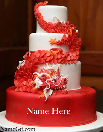 Photo of write name birthday cake red big cake