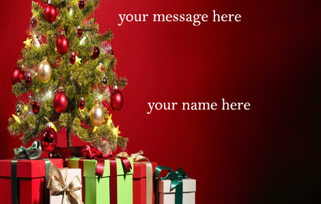 Photo of write your name and your message on gif christmas Tree gif card
