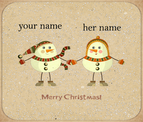 Photo of write names on merry christmas for snow couples