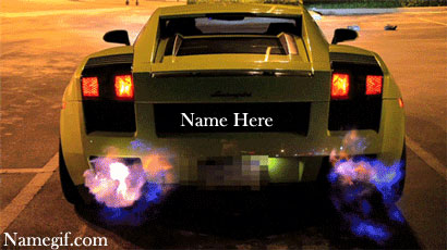 Photo of write name on car backfire gif photo