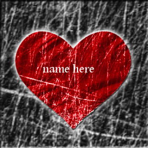 Photo of write name on gif red heart image