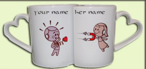 Photo of write your names on robots lovers mug