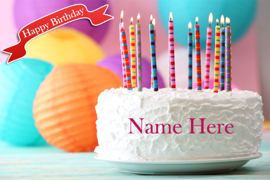 Photo of write name birthday cake Cream cake