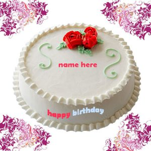 Photo of write name on birthday cake gif image white cake