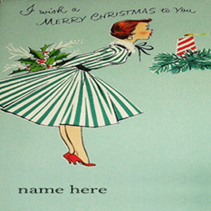 Photo of write name on vintage girl merry christmas