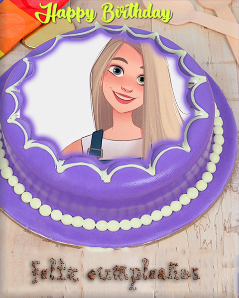 Birthday cake Photo frame purple star cake - Birthday cake Photo frame purple star cake