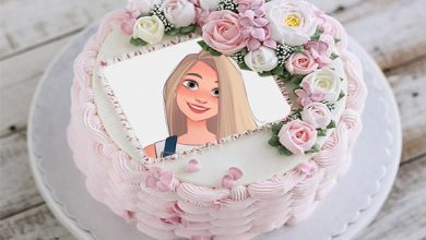 Photo of Happy Birthday Cake Photo Frame cream and roses decoration