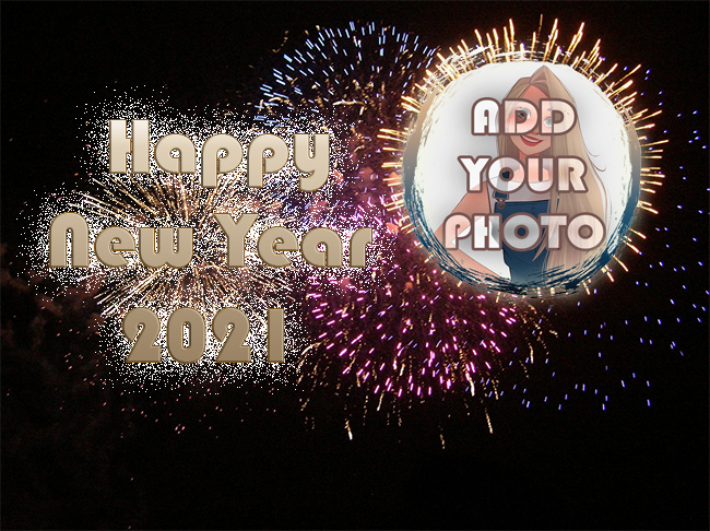 Happy New Year 2021 Photo Frame with colored fireworks - Happy New Year 2021 Photo Frame with colored fireworks