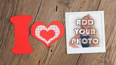 Photo of I love you with decorated heart Romantic photo frame