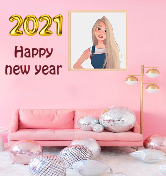 Photo Frame Happy New Year 2021 frame on wall - Photo Frame Happy New Year 2021 frame on wall