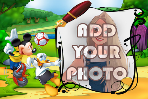 donald duck and mickey playing ball kids cartoon photo frame - donald duck and mickey playing ball kids cartoon photo frame