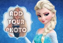 Photo of elsa with frozen background kids cartoon photo frame
