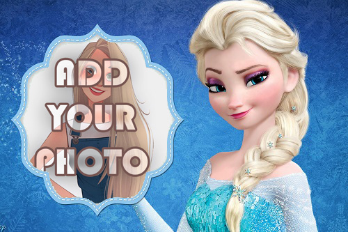 elsa with frozen background kids cartoon photo frame - elsa with frozen background kids cartoon photo frame