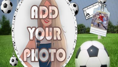 Photo of football player kids cartoon photo frame