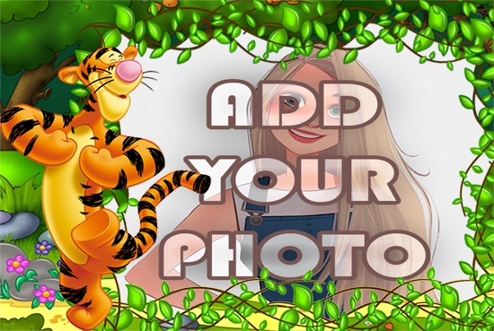 funny tiger in woods kids cartoon photo frame - funny tiger in woods kids cartoon photo frame