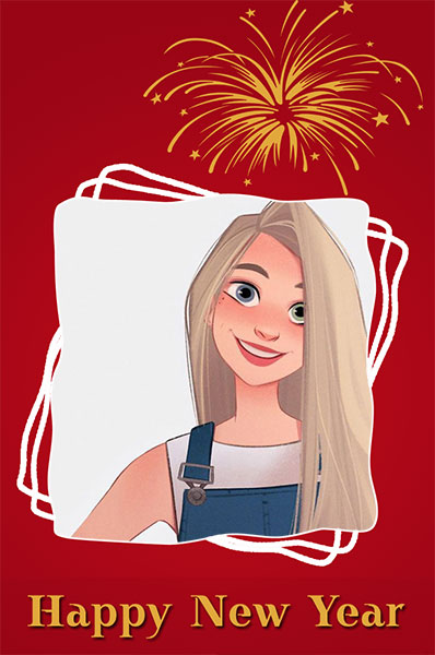 happy new year red card photo frame - happy new year red card photo frame