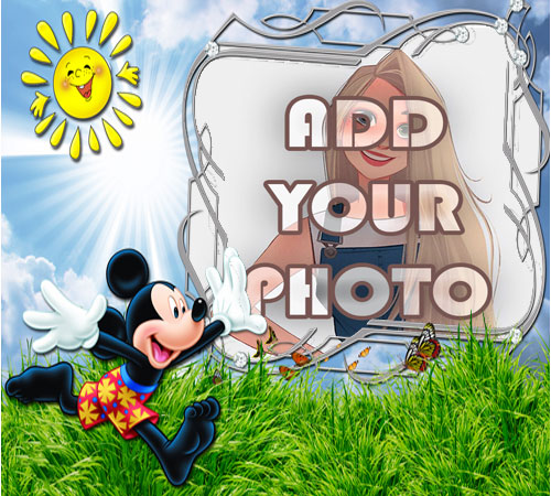 mickey mouse garden kids cartoon photo frame - mickey mouse garden kids cartoon photo frame