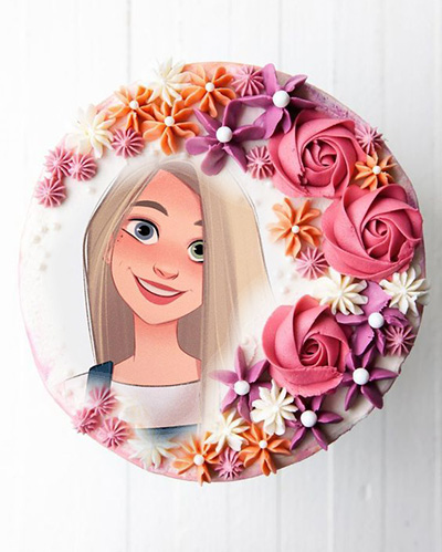 photo frame happy new year cake with circle of roses - photo frame happy new year cake with circle of roses