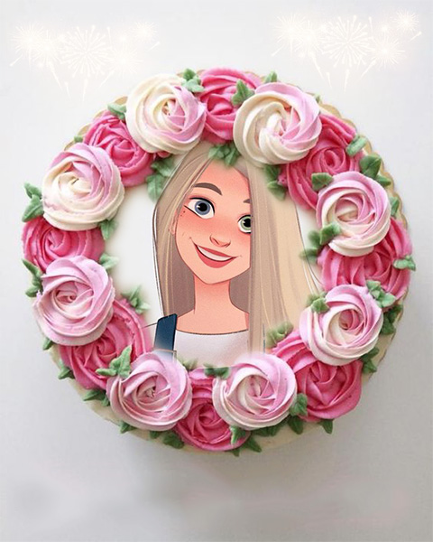 photo frame happy new year cake with colorful roses - photo frame happy new year cake with colorful roses