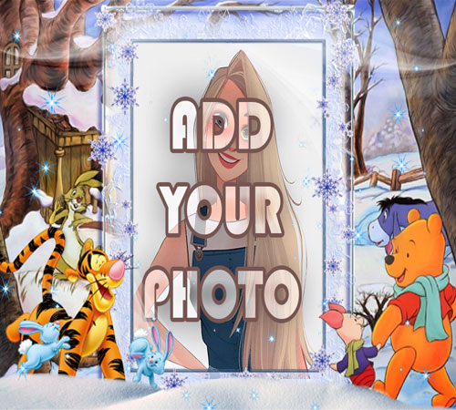 snow house kids cartoon photo frame - snow house kids cartoon photo frame