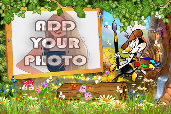 the Artist Bee kids cartoon photo frame - the Artist Bee kids cartoon photo frame