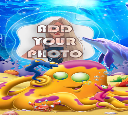 the cute octopus kids cartoon photo frame - the cute octopus kids cartoon photo frame
