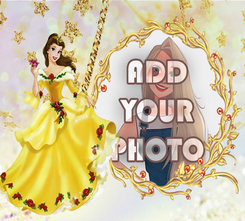 the princess in yellow dress kids cartoon photo frame - the princess in yellow dress kids cartoon photo frame