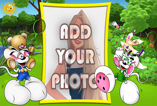 the sports bunnies kids cartoon photo frame - the sports bunnies kids cartoon photo frame