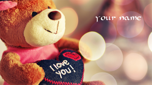 Photo of write your name on picture of love bear