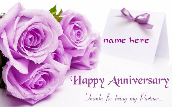 Photo of Write name on Happy Anniversary