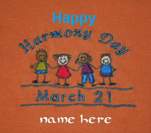 Photo of Write name on happy Harmony Day