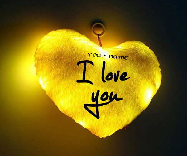 Photo of write your name on i love you golden heart pictuer