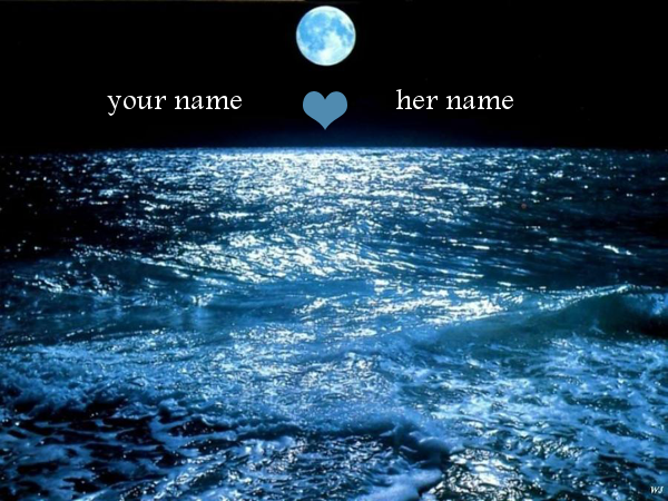 Photo of write your names on moon on sea photo