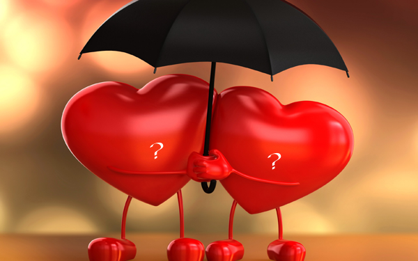 Photo of write yours characters on two hearts under love umbrella