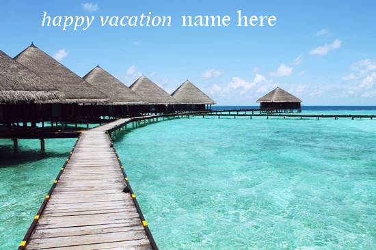 Photo of write your friend name on happy vacation image