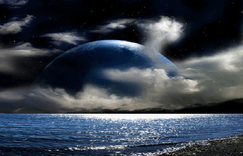 Photo of write on gif night and moon and sea