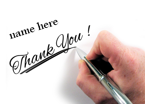 Photo of write your friend name on thank you image