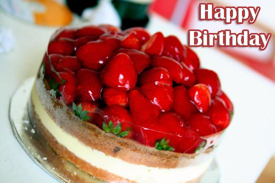 Photo of write your name on strawberry birthday cake
